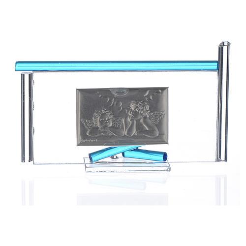 Icône Anges argent et verre Murano aigue-marine 13x8 cm 2