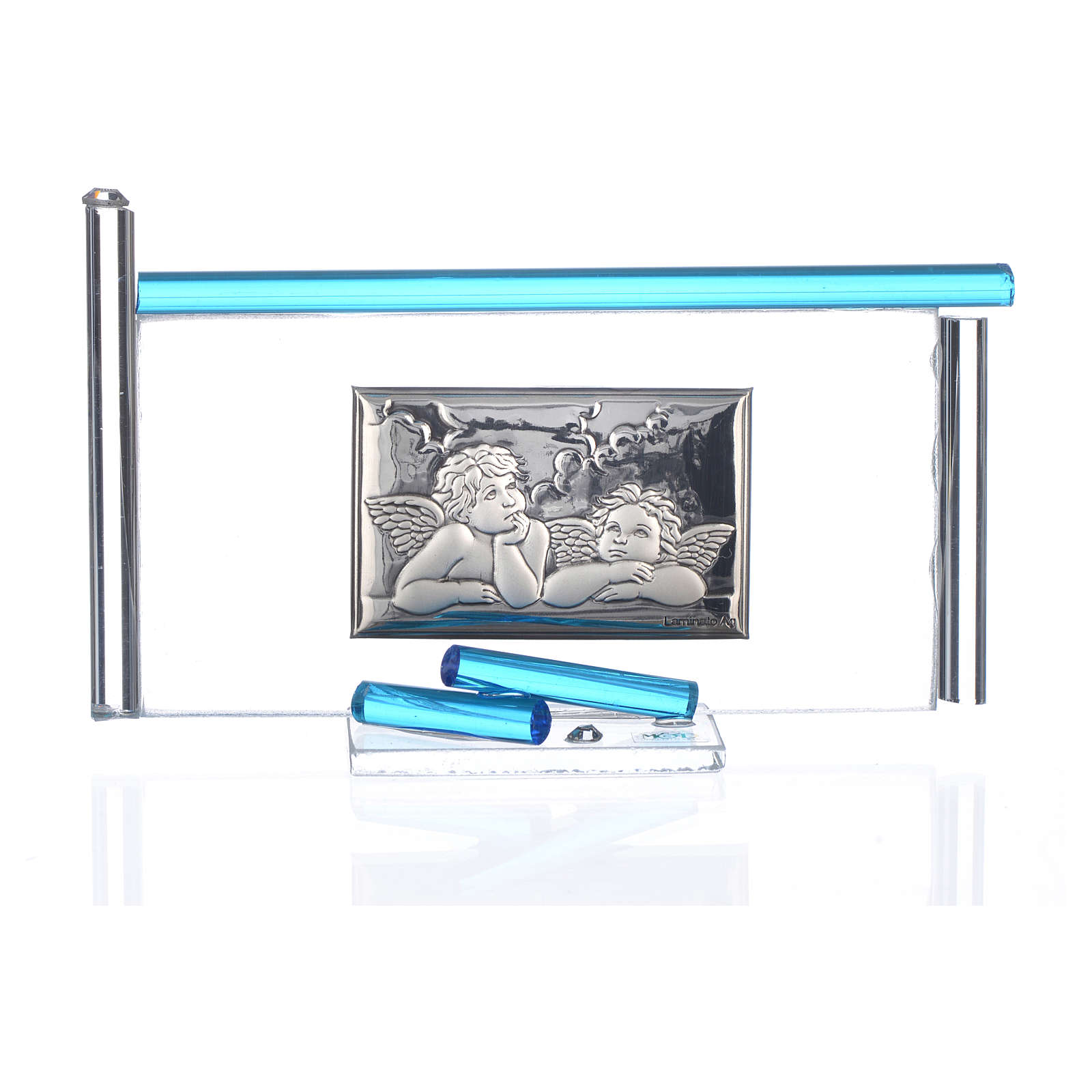 Icona Angeli argento e vetro Murano Acquamarina 13x8 cm 3