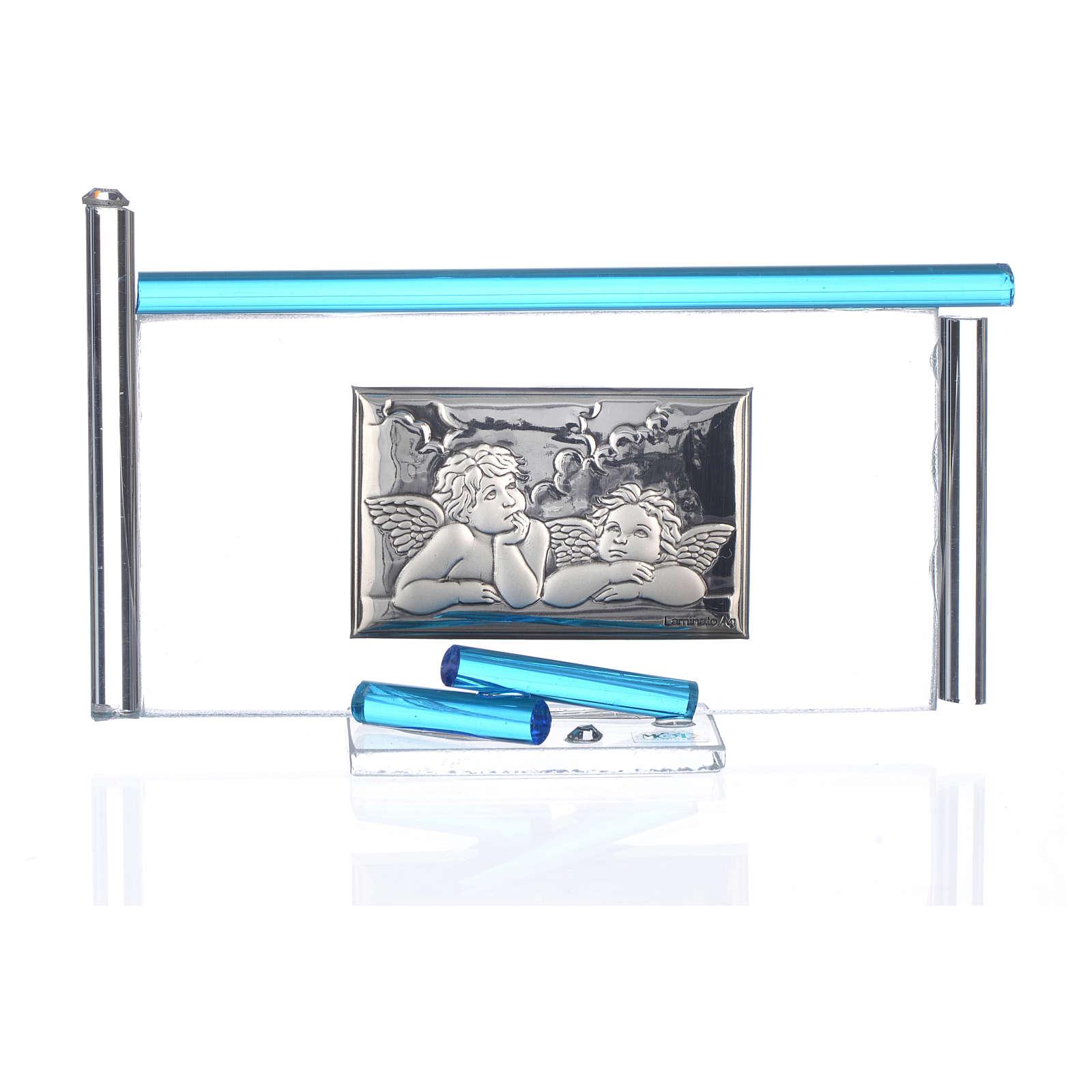 Ícone Anjos e vidro Murano água-marinha 13x8 cm 3