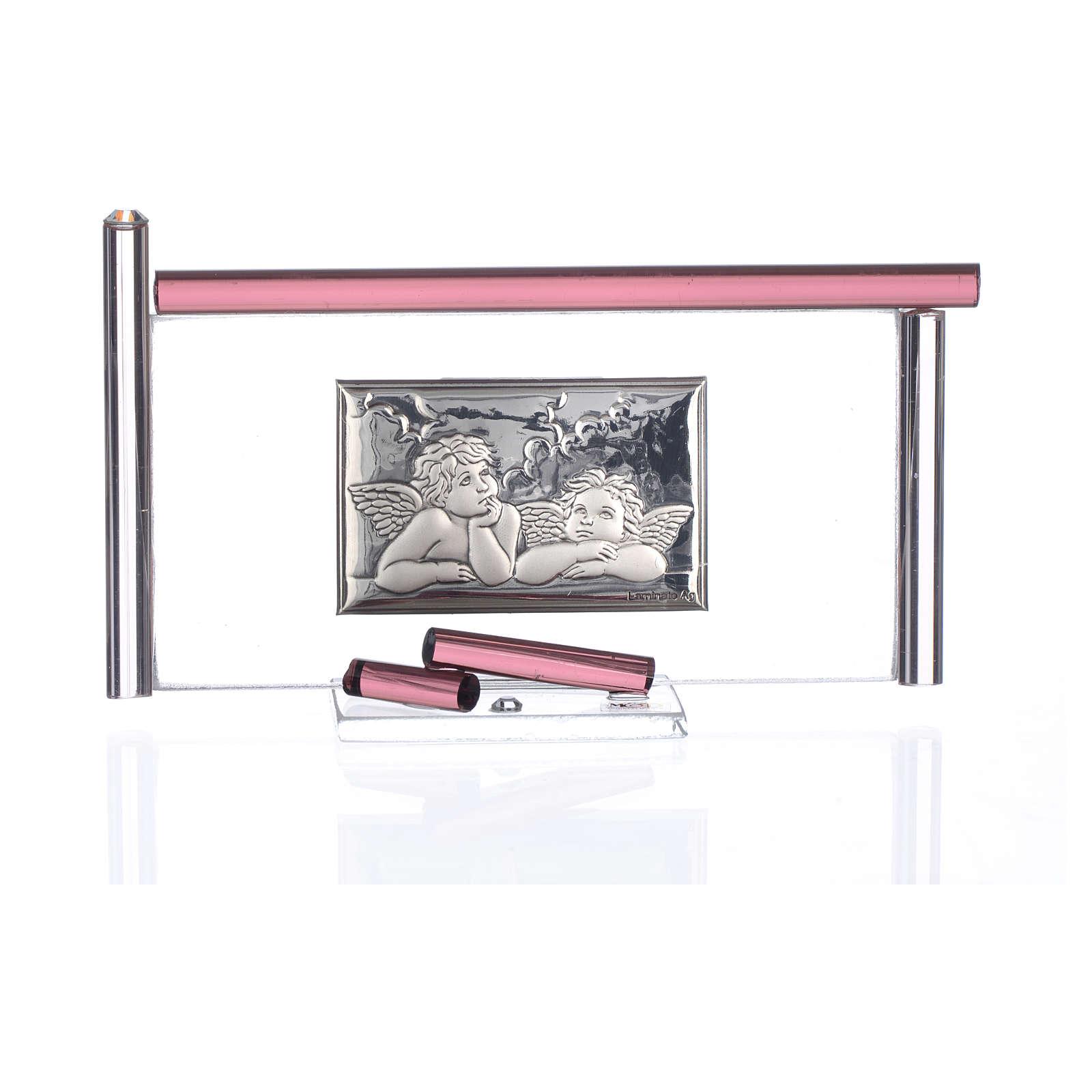 Icona Angeli  argento e vetro Murano Viola 13x8 cm 3