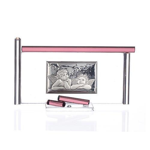Icona Angeli  argento e vetro Murano Viola 13x8 cm 1