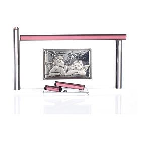 Ícone Anjos e vidro Murano roxo 13x8 cm s3