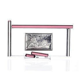Ícone Anjos e vidro Murano roxo 13x8 cm s1