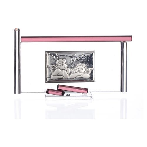 Ícone Anjos e vidro Murano roxo 13x8 cm 3