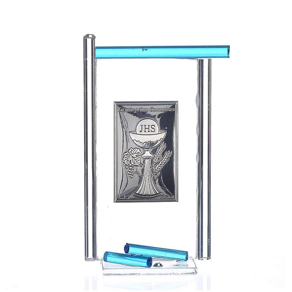 Icône Communion arg. et verre Murano aigue-marine 13x8 cm 3