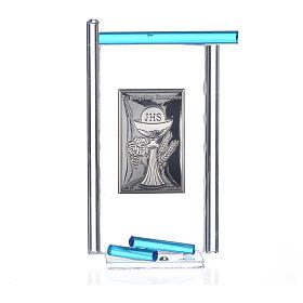 Icona Comunione Arg. e vetro Murano acquamarina 13x8 cm s3