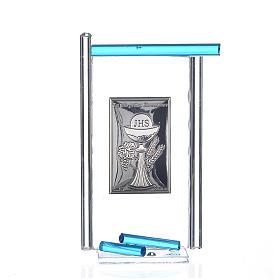 Icona Comunione Arg. e vetro Murano acquamarina 13x8 cm s1