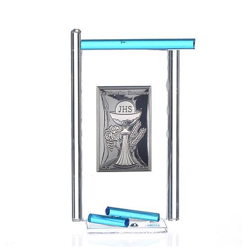 Icona Comunione Arg. e vetro Murano acquamarina 13x8 cm 1
