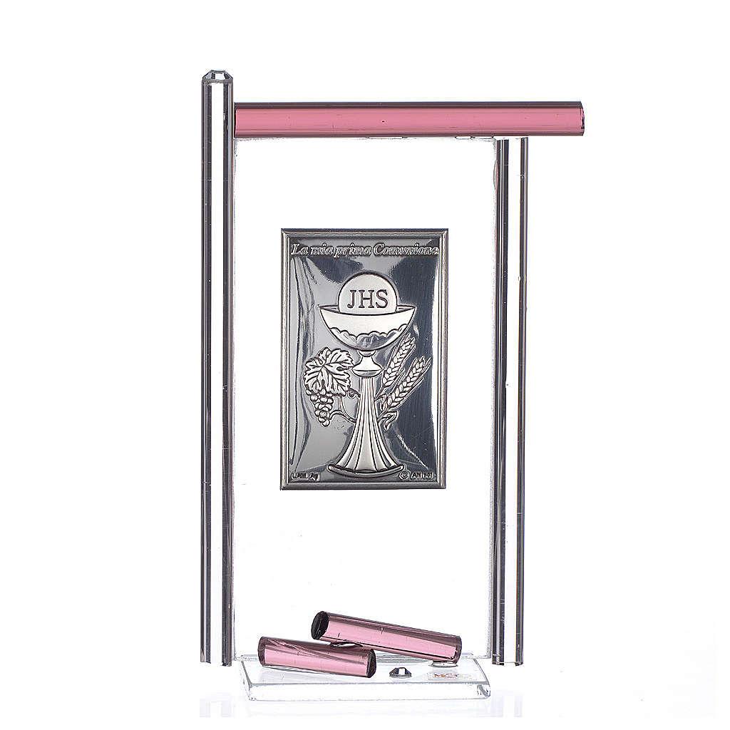 Icona Comunione Arg. e vetro Murano viola 13x8 cm 3