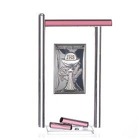 Icona Comunione Arg. e vetro Murano viola 13x8 cm s1