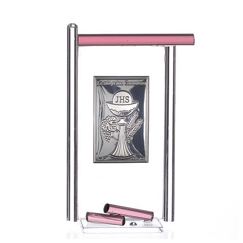 Icona Comunione Arg. e vetro Murano viola 13x8 cm 1
