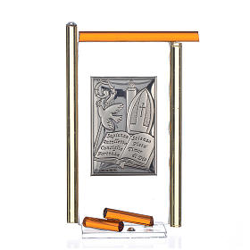 Dicas de Presentes e Lembrancinhas: Ícone Crisma prata e vidro Murano âmbar 13x8 cm