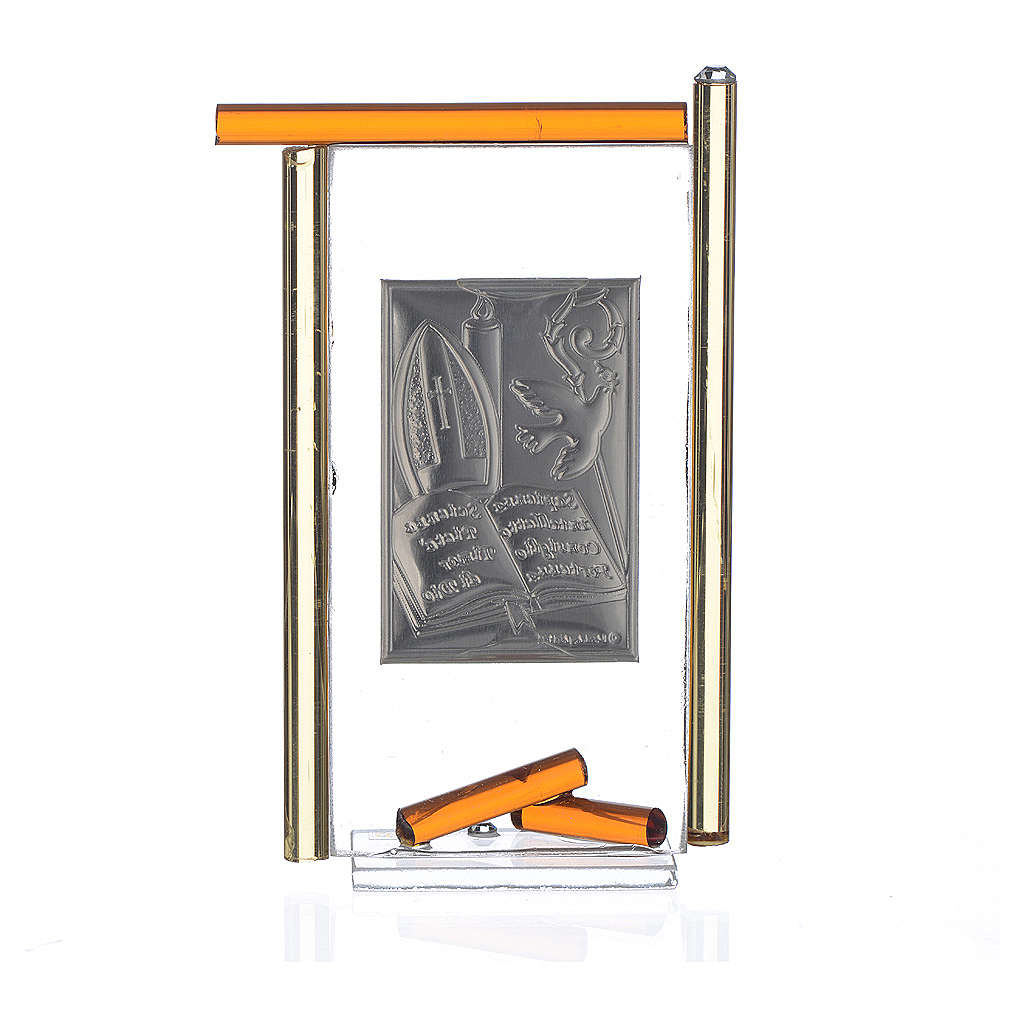Icon Confirmation silver and Murano Glass, Amber 13x8cm 3
