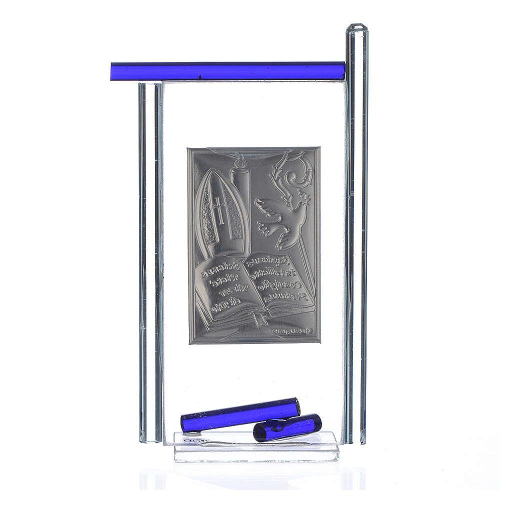 Icono confirmación plata y vidrio Murano azul 13x8 cm 3