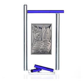 Icono confirmación plata y vidrio Murano azul 13x8 cm s3