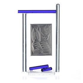 Icono confirmación plata y vidrio Murano azul 13x8 cm s4