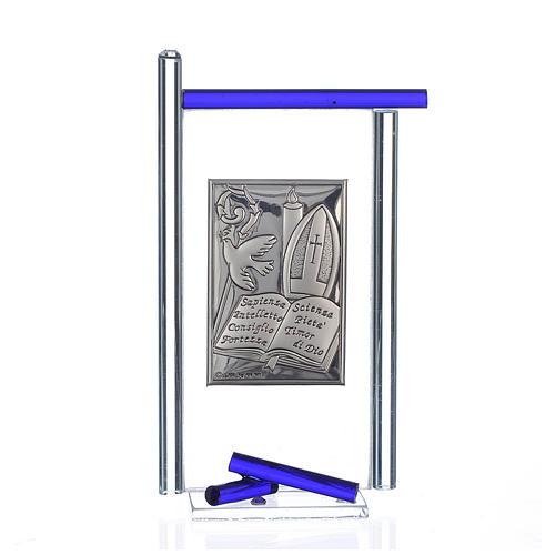 Icono confirmación plata y vidrio Murano azul 13x8 cm 1