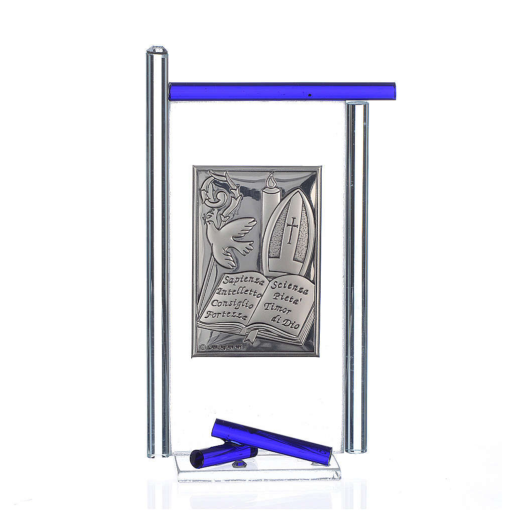Icona Cresima  Arg. e vetro Murano Blu 13x8 cm 3