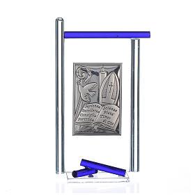 Icona Cresima  Arg. e vetro Murano Blu 13x8 cm s1
