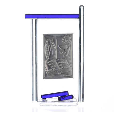 Icona Cresima  Arg. e vetro Murano Blu 13x8 cm 2