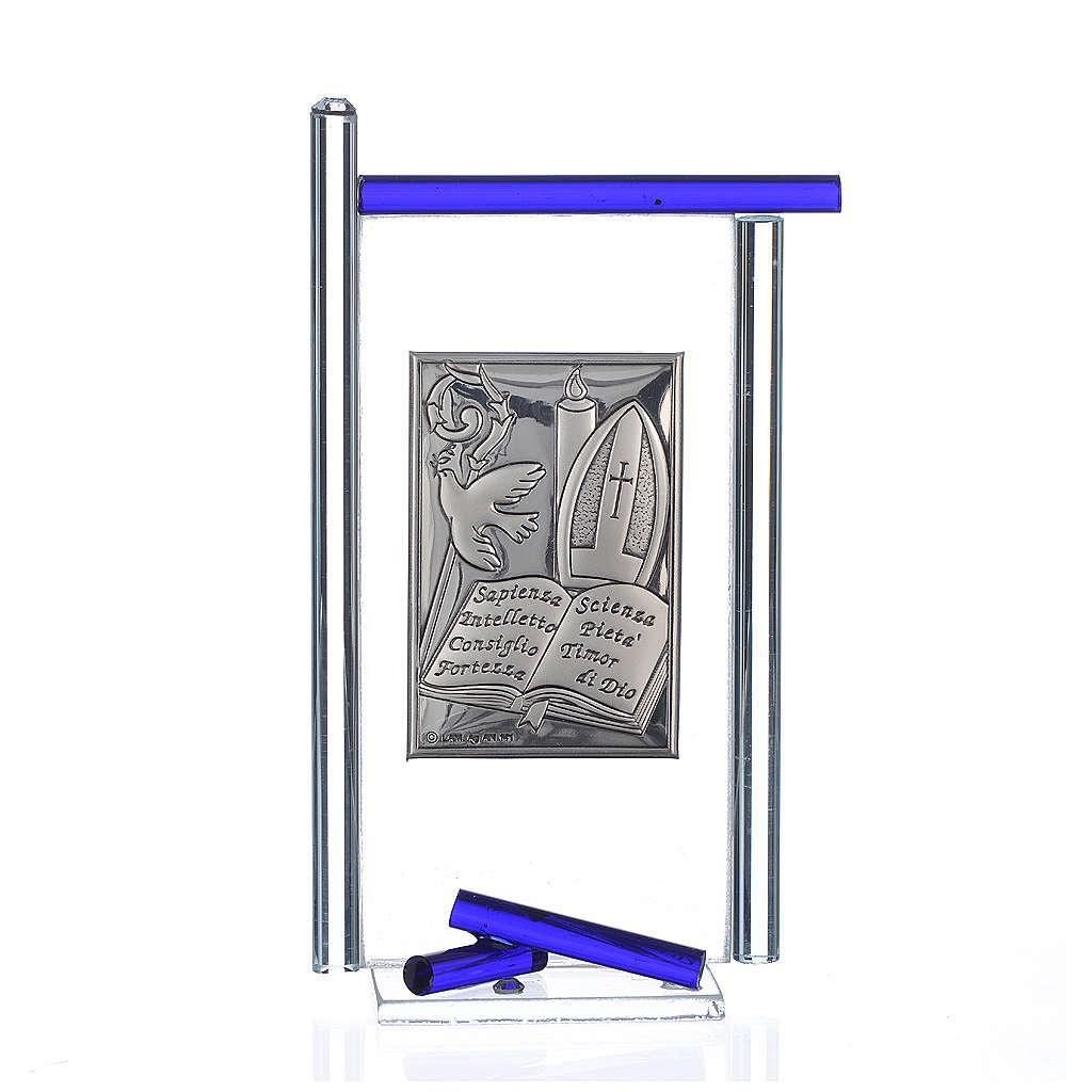 Icon Confirmation silver and Murano Glass, Blue 13x8cm 3