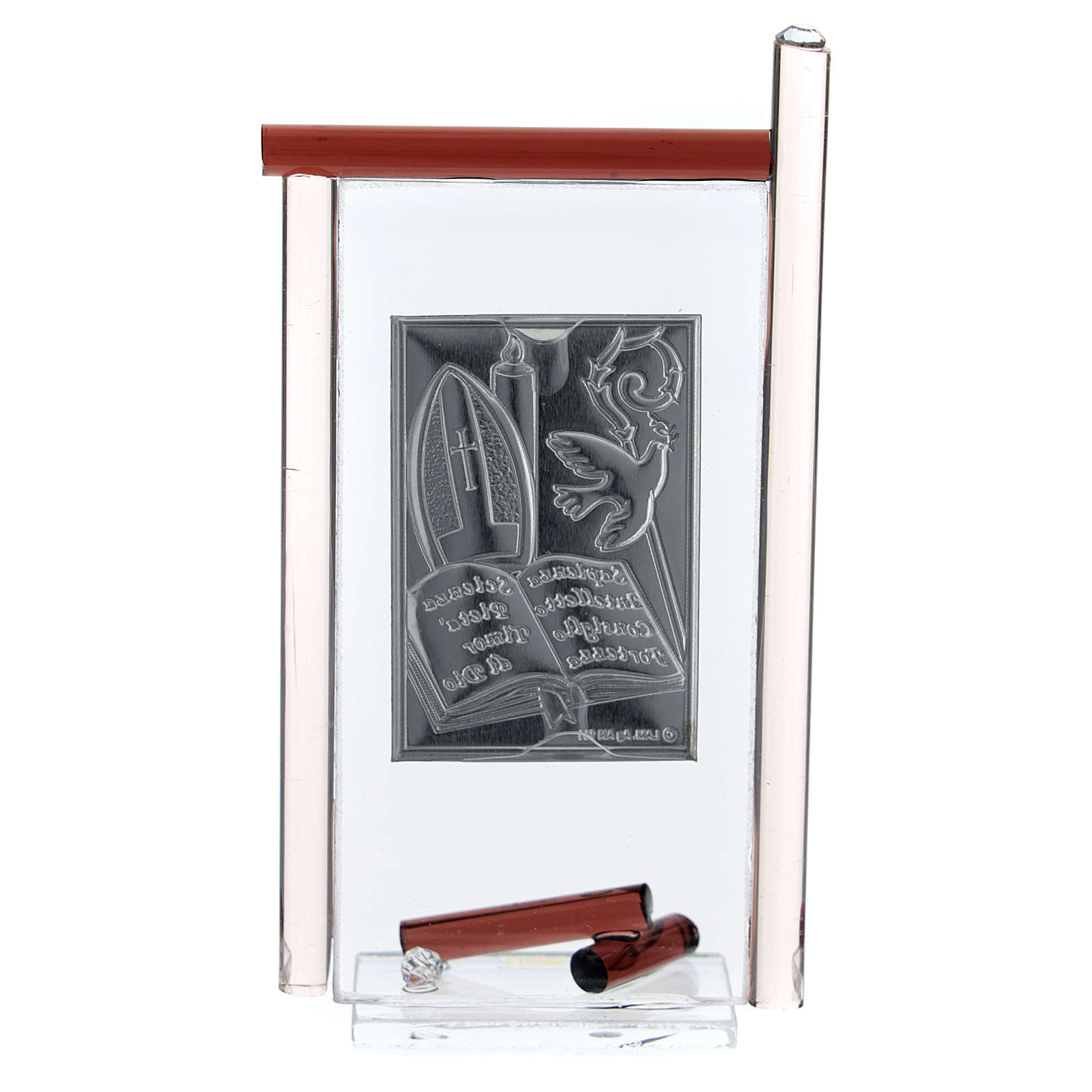 Icône Confirmation arg. et verre Murano violet 13x8 cm 3