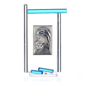 Bonbonnière Naissance arg. et verre Murano aigue-marine 13x8 cm s3