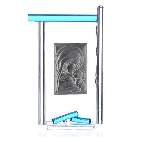 Bonbonnière Naissance arg. et verre Murano aigue-marine 13x8 cm s4