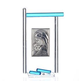 Bonbonnière Naissance arg. et verre Murano aigue-marine 13x8 cm s1