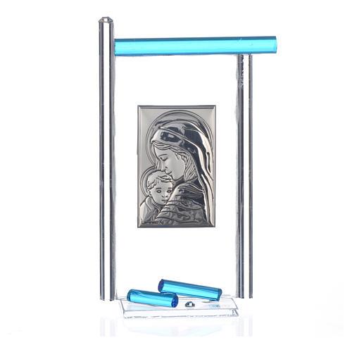 Bonbonnière Naissance arg. et verre Murano aigue-marine 13x8 cm 3