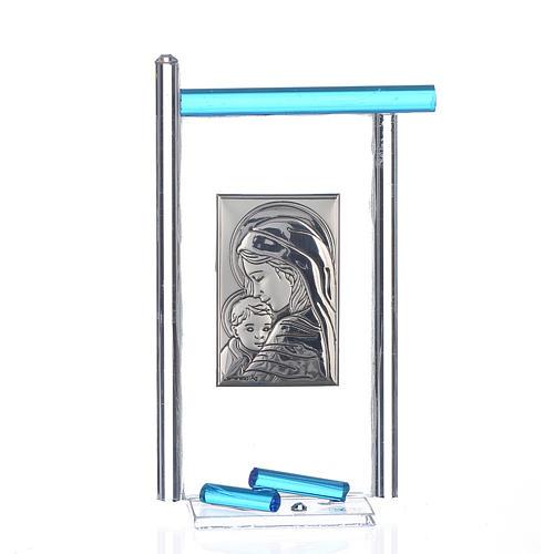 Bonbonnière Naissance arg. et verre Murano aigue-marine 13x8 cm 1