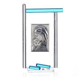 Bomboniera Nascita Arg. e vetro Murano acquamarina 13x8 cm s3