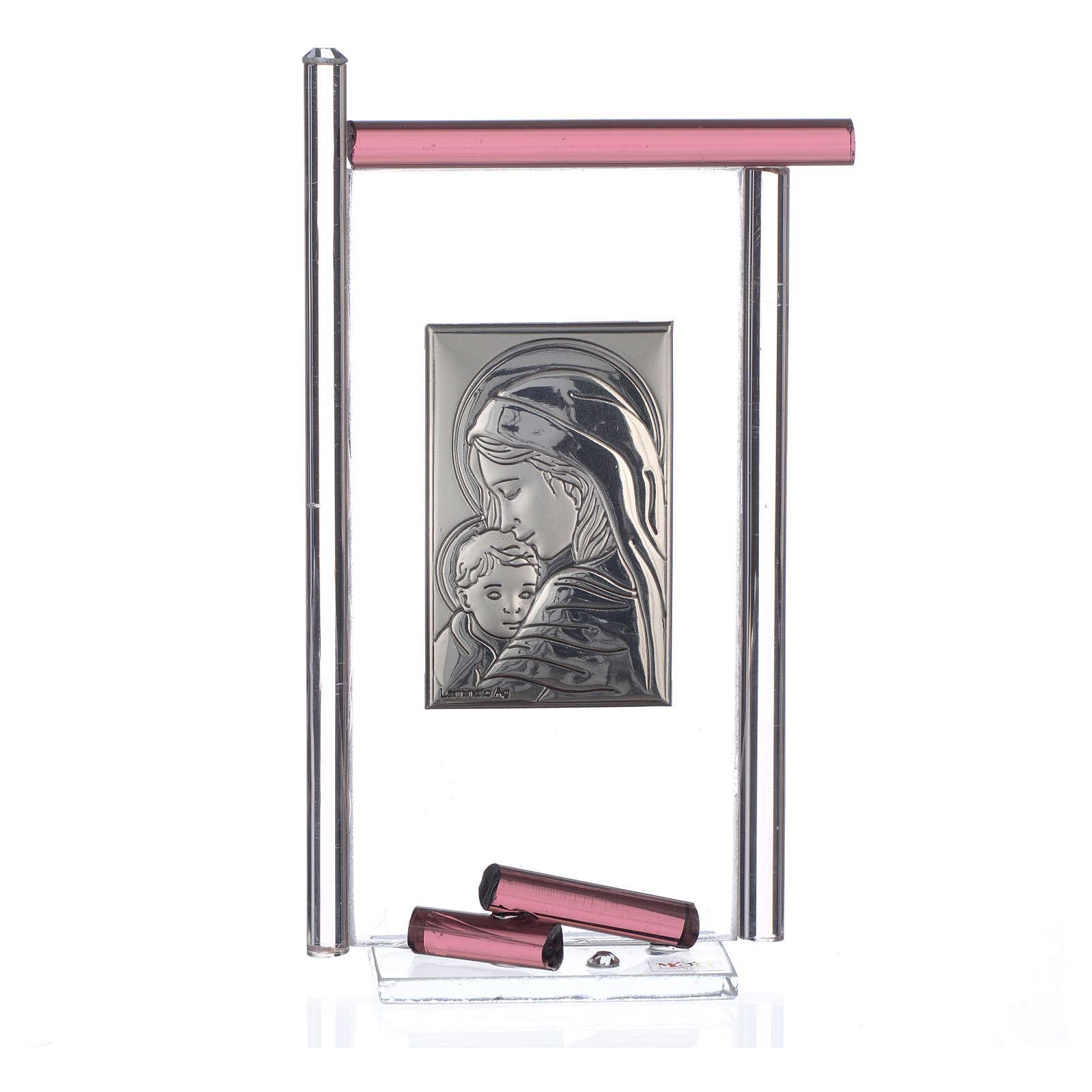 Bomboniera Nascita Arg. e vetro Murano viola 13x8 cm 3