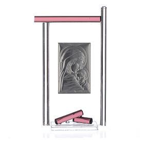 Bomboniera Nascita Arg. e vetro Murano viola 13x8 cm s4