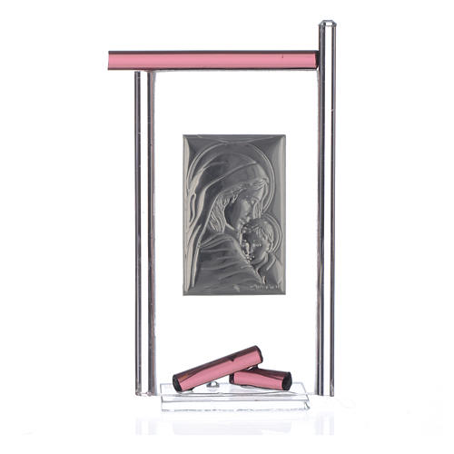 Bomboniera Nascita Arg. e vetro Murano viola 13x8 cm 4