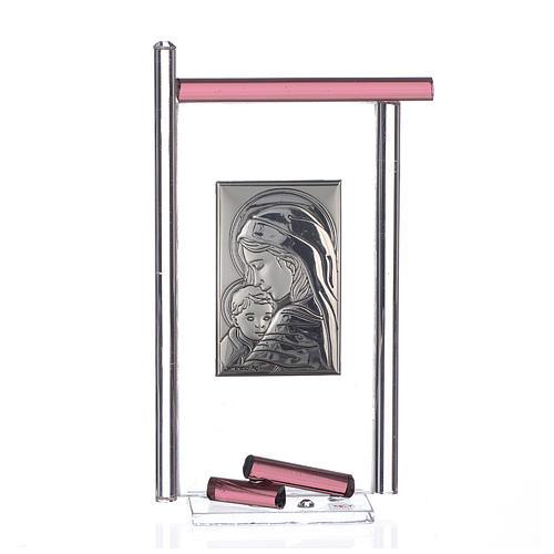Bomboniera Nascita Arg. e vetro Murano viola 13x8 cm 1
