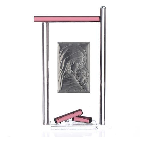 Bomboniera Nascita Arg. e vetro Murano viola 13x8 cm 2