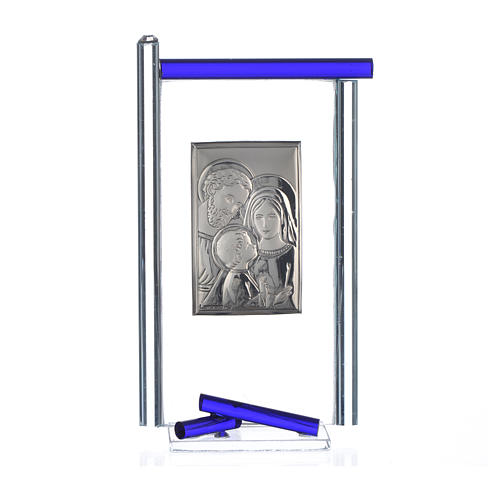 Painting Holy Family silver and Murano Glass, Blue 13x8cm 3