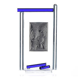Regalo S.Familia plata Vidrio Murano Azul 13x8 cm s2