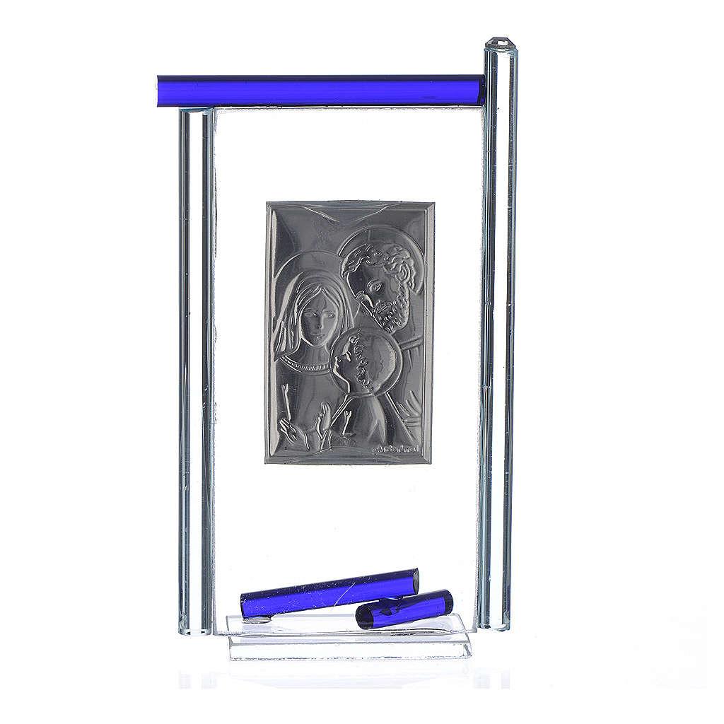 Bonbonnière Ste Famille arg. verre Murano bleu 13x8 cm 3