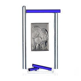 Bonbonnière Ste Famille arg. verre Murano bleu 13x8 cm s3