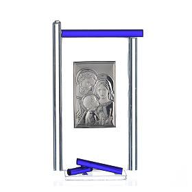 Bonbonnière Ste Famille arg. verre Murano bleu 13x8 cm s1