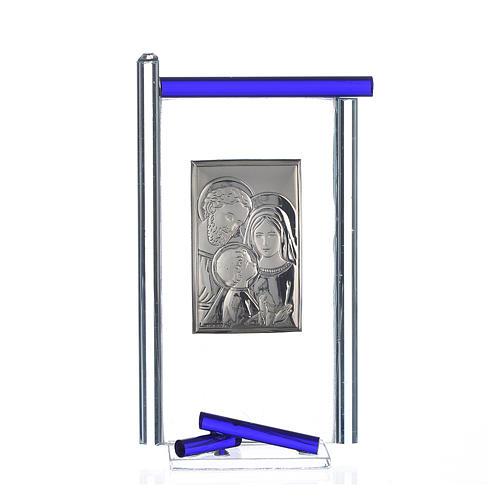 Bonbonnière Ste Famille arg. verre Murano bleu 13x8 cm 1