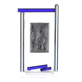 Bomboniera S. Famiglia Arg. vetro Murano Blu 13x8 cm s2