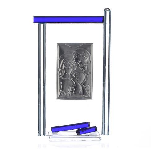 Bomboniera S. Famiglia Arg. vetro Murano Blu 13x8 cm 4