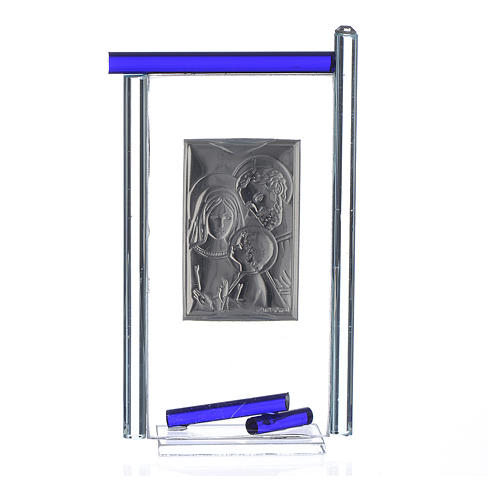 Bomboniera S. Famiglia Arg. vetro Murano Blu 13x8 cm 2