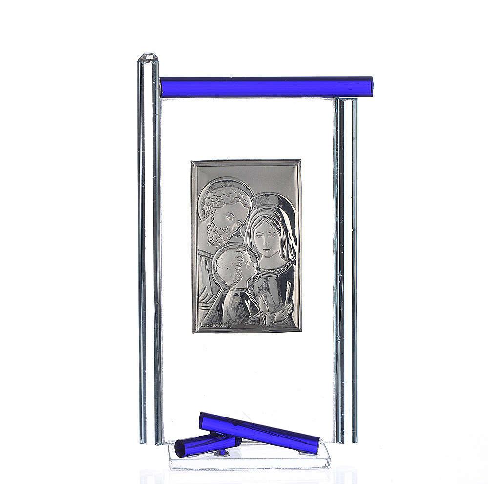 Pamiątka święta Rodzina srebro i szkło Murano niebieskie 13x8 cm 3
