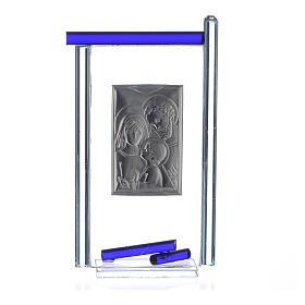 Lembrancinha S. Família prata vidro Murano azul escuro 13x8 cm s4