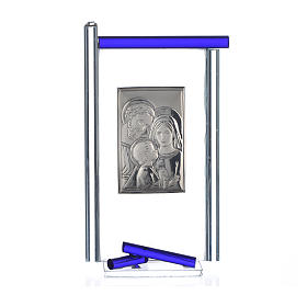 Painting Holy Family silver and Murano Glass, Blue 13x8cm s3