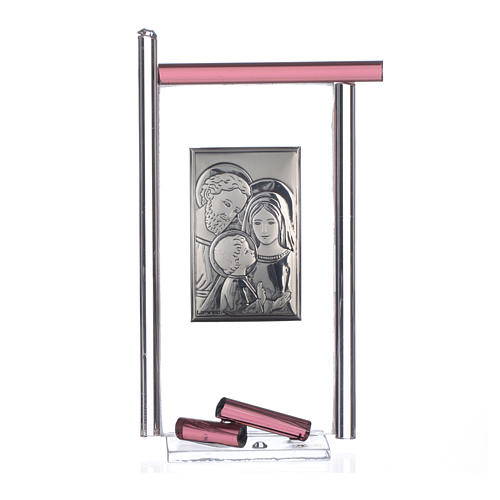 Bonbonnière Ste Famille arg. verre Murano violet 13x8 cm 3